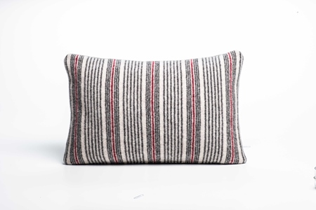 Picture of Small Cushion Burgandy Fine Stripe