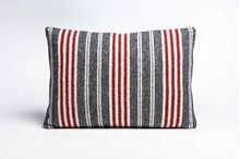 Picture of Large Cushion Tobasco/Coal Mixed Stripe