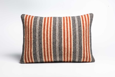 Picture of Large Cushion Safflower Coal Mixed Stripe