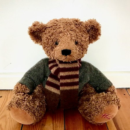 Picture of Teddy Bear Scarf Burgandy Camel Brown