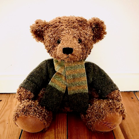Picture of Teddy Bear Scarf Ochre Grey Charcoal