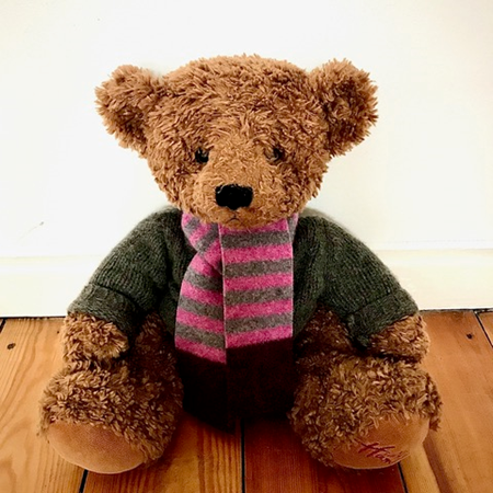 Picture of Teddy Bear Scarf Rose Brown Burgundy