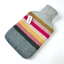 Picture of Hot Water Bottle Grey Coral Yellow Stripe