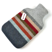 Picture of Hot Water Bottle Red Orange Khaki Stripe