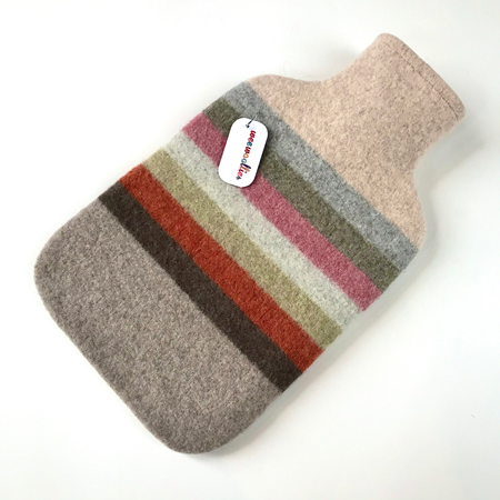 Picture of Hot Water Bottle Rose Orange Silver Stripe